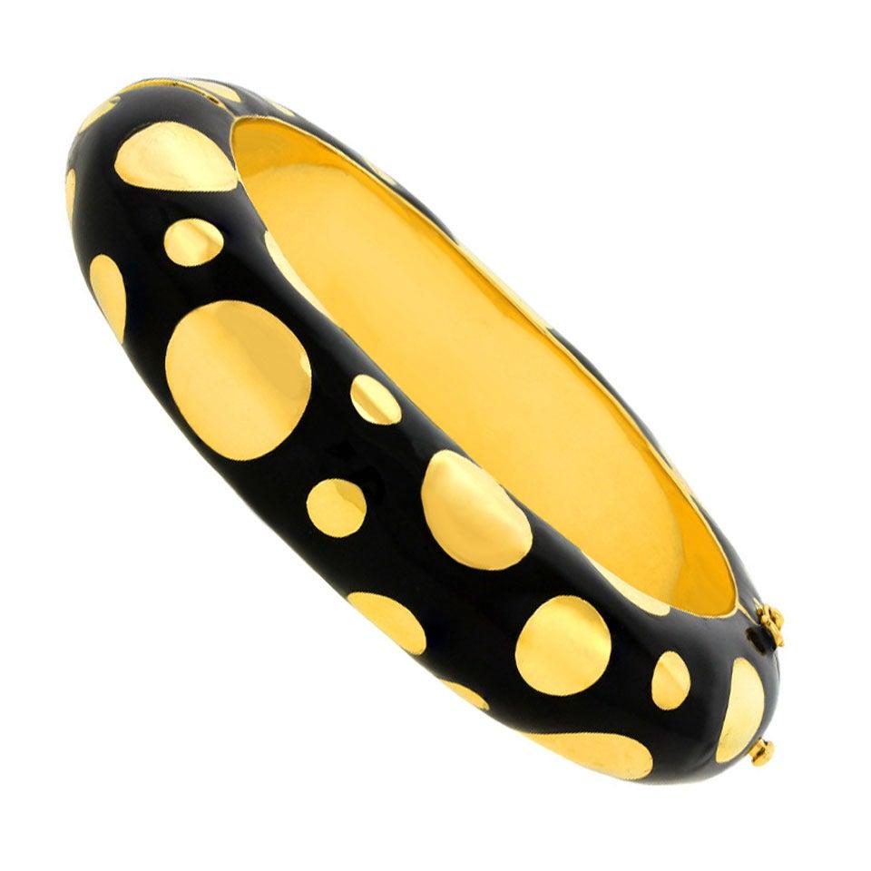 1960s Black Enamel Gold Polka Dot Bangle Bracelet For Sale