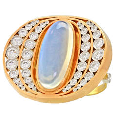 """Alchemy Collection """"Moon and Stars"""" Moonstone Gold Platinum Ring"""