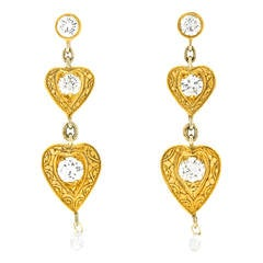 """Alchemy Collection """"Hearts and Diamonds"""" Gold over Silver Earrings"""