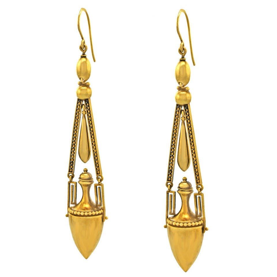 Antique Aesthetic Revival Gold Chandelier Earrings At 1stdibs
