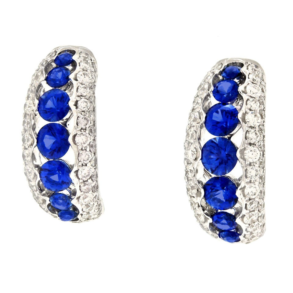 Spark Creations Sapphire Diamond Gold Earrings 7