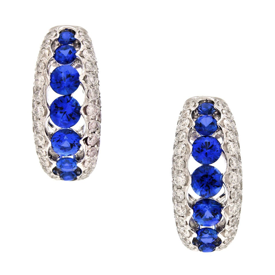 Spark Creations Sapphire Diamond Gold Earrings 8
