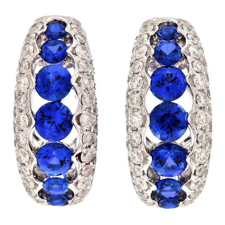 Spark Creations Sapphire Diamond Gold Earrings 1