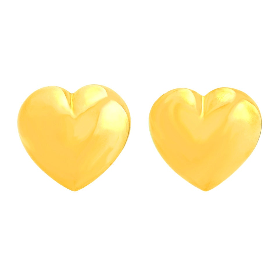 "Seventies Pop Art Polished Gold ""Heart"" Earrings 8"