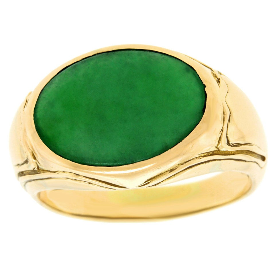 jade gold ring at 1stdibs