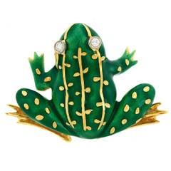Enameled Gold Frog Brooch