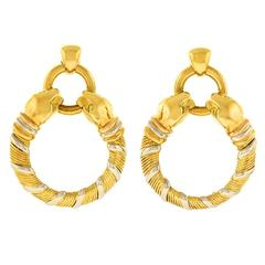 Cartier Panthere Tri-Color Gold Earrings