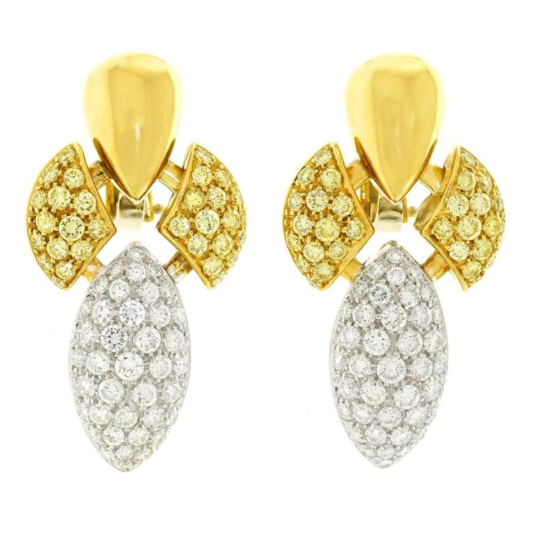 Stunning Yellow and White Diamond Set Gold Fleur-de-lis Earrings