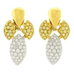 Beautiful Yellow and White Diamond Gold Fleur-de-lis Earrings