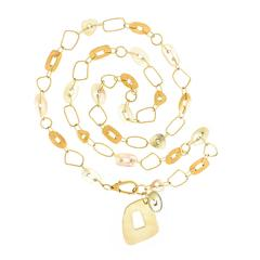 "Mattioli Mother of Pearl Gold ""Puzzle"" Necklace"