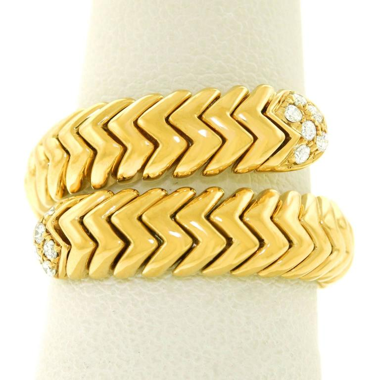 "Bulgari ""Spiga"" Diamond-Set Snake Ring 8"
