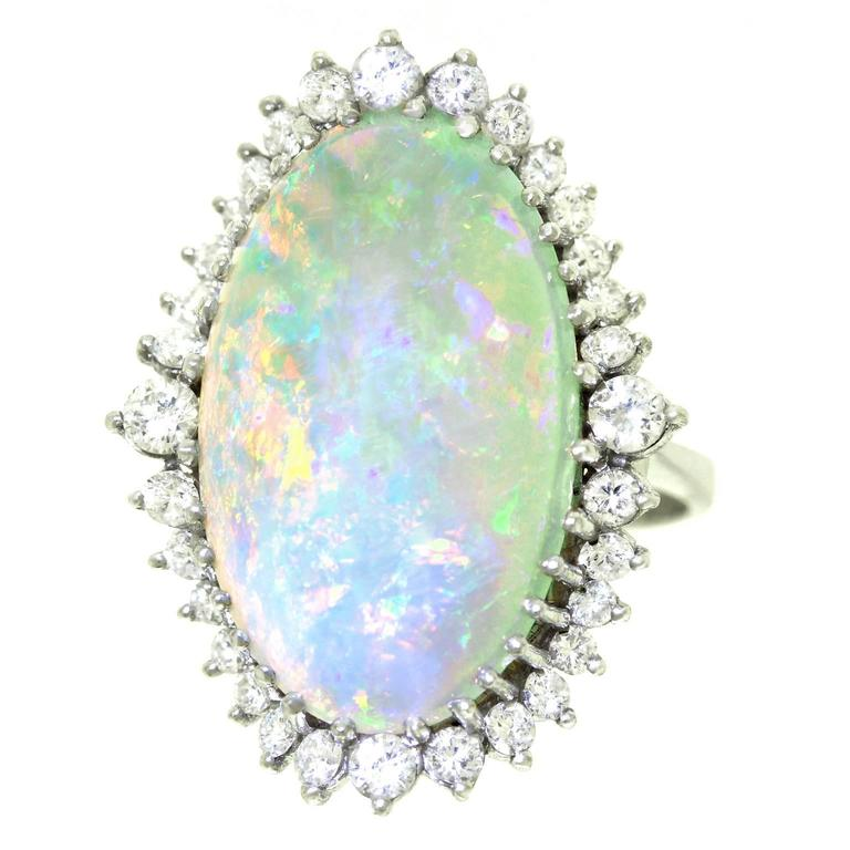 Superb Opal and Diamond White Gold Ring 1