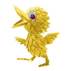 Hammerman Bros. Whimsical Fifties Bird Brooch