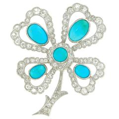 Antique Persian Turquoise and Diamond Clover Brooch