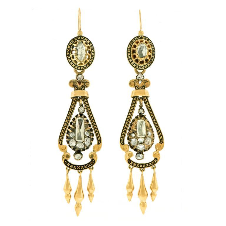 Victorian Rose Cut Diamond Enamel Gold Chandelier Earrings