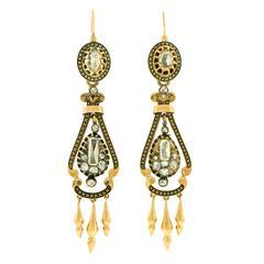 Victorian Rose-Cut Diamond Enamel Gold Chandelier Earrings