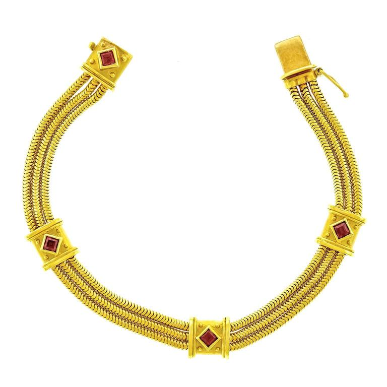 Seidengang Tourmaline and Gold Bracelet For Sale
