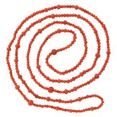53-inch Modernist Italian Coral Necklace