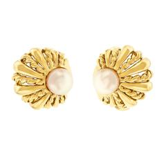 Tiffany & Co. Pearl Set Shell Motif Gold Earrings