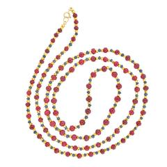 1970s American Ruby Sapphire Gold Bead Necklace