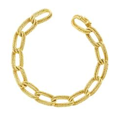 1960s Gubelin Double Link Twisted Cable Gold Bracelet