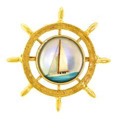 Nautical Theme Essex Crystal Gold Brooch