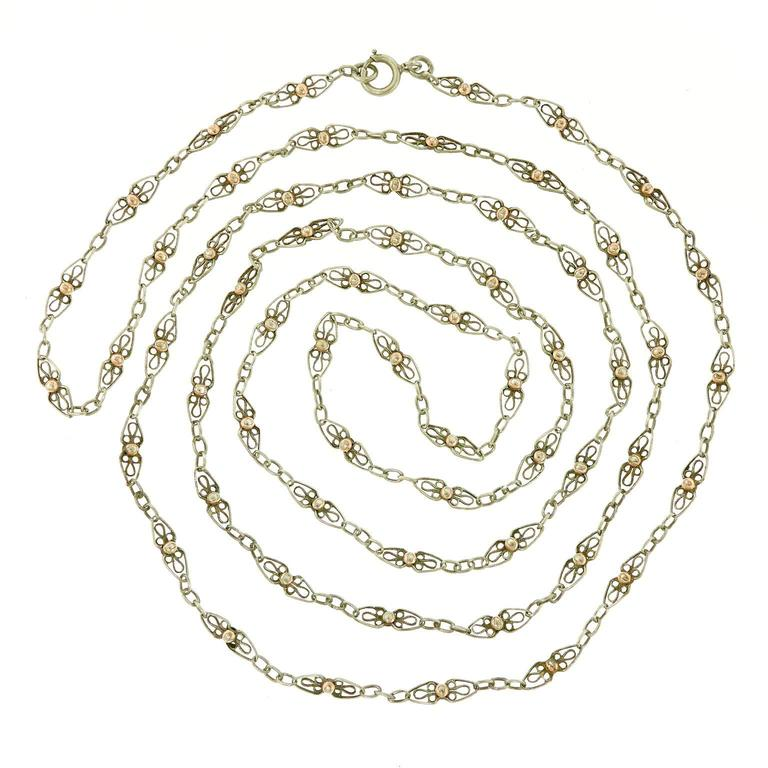 56-inch-long Antique French Filigree Sterling Chain