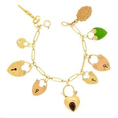 Antique Gold Heart Lock Charm Bracelet