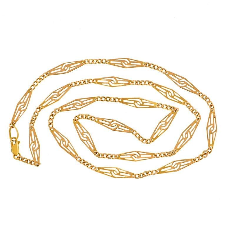 1960s Mod Gold Filigree Necklace