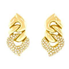"Bulgari ""Doppio Cuore"" Diamond and Gold Earrings"