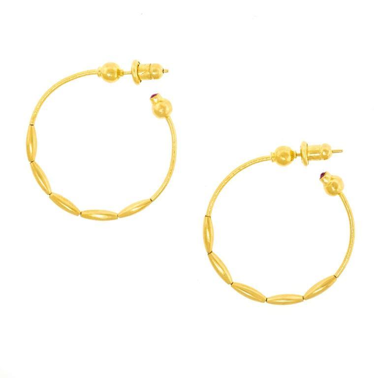 Gurhan 24k Gold Hoops For