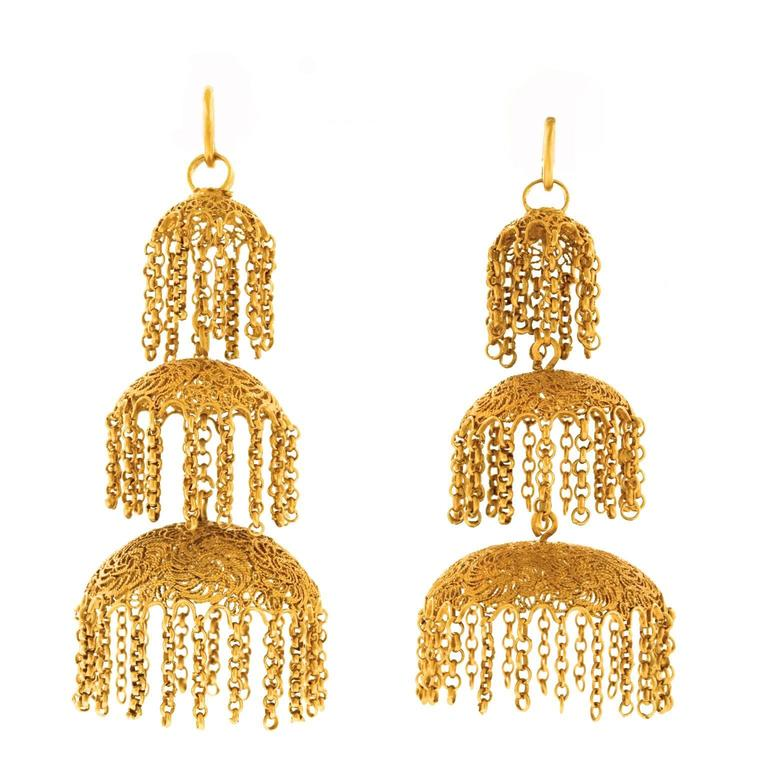 Antique Anglo-Indian High Karat Gold Chandelier Earrings - Antique Gold Chandelier Earrings For Sale At 1stdibs
