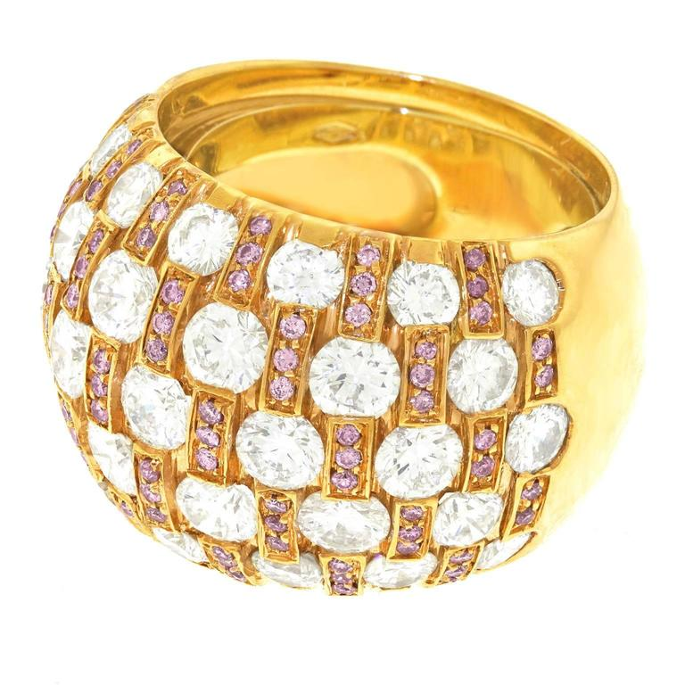 Chic 1970s White and Pink Diamond Set Gold Bombe Ring
