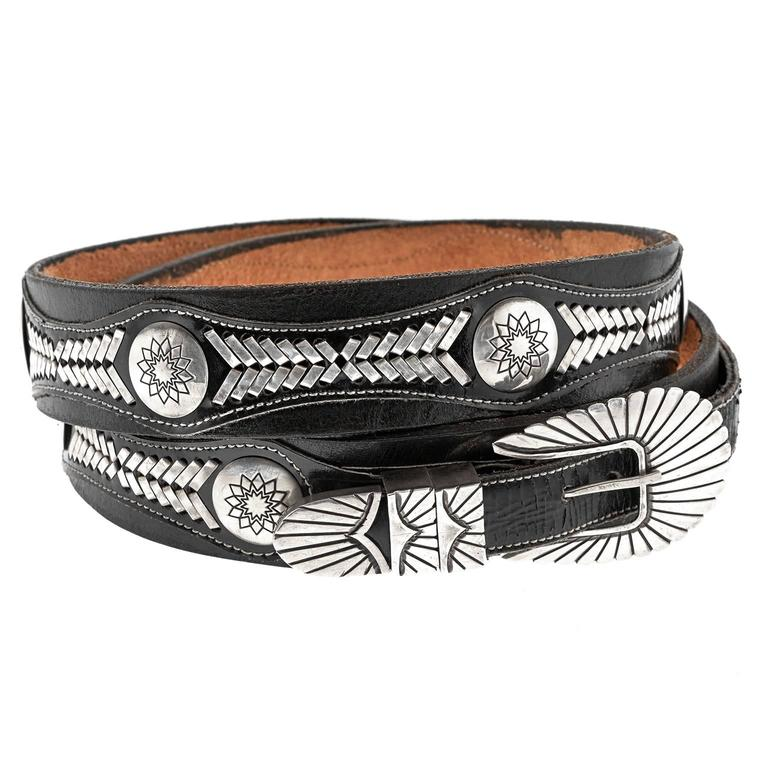 Navajo Sterling silver Mounted Leather Belt