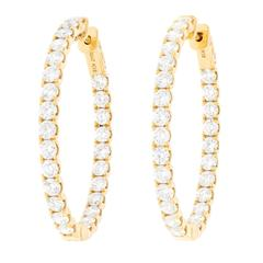 Diamond Set Yellow Gold Hoop Earrings