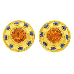 Zolotas Citrine and Sapphire Gold Shield Earrings