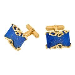 Gilbert Albert Lapis-set Gold Cufflinks