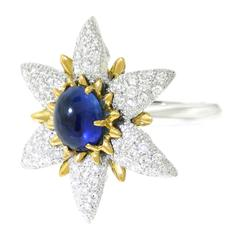 Sapphire and Diamond Flower Gold and Platinum Ring