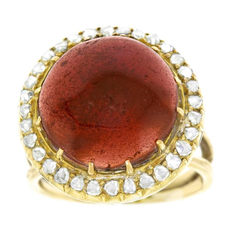 Antique Garnet & Diamond Gold Ring 1
