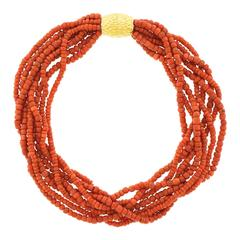Natural Coral Torsade with Large Decorative Gold Catch