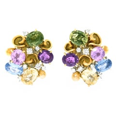Emil Meister Sapphire and Diamond Set Gold Earrings