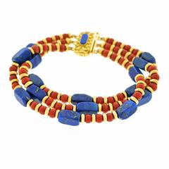 1970s Lapis, Coral and Gold Bracelet