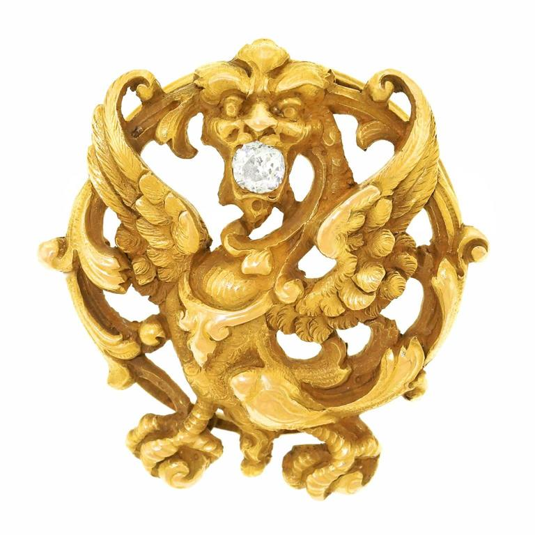 Antique Griffin Gold and Diamond Brooch