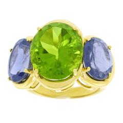 Peridot and Iolite Gold Ring