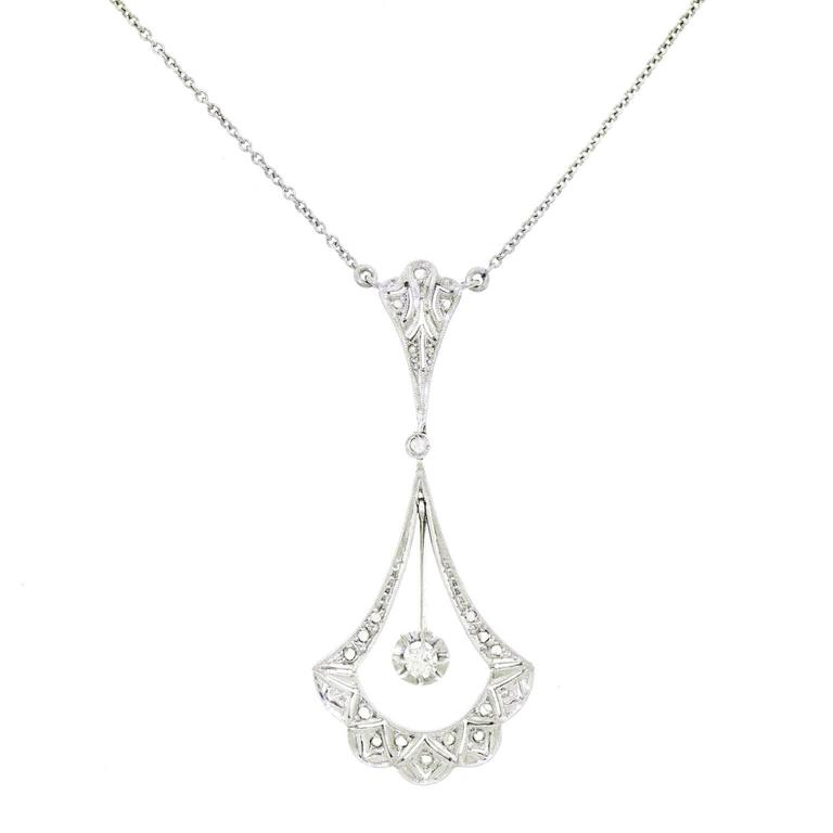 French Art Deco Diamond and Gold Necklace 1