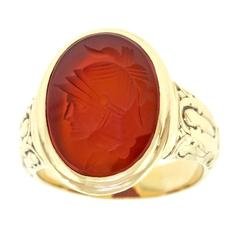 Antique Gold Carnelian Signet Ring