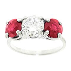 1950s Cartier Diamond and Ruby Platinum 3 Stone Engagement Ring GIA