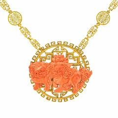 Chinoiserie Coral and Gold Necklace