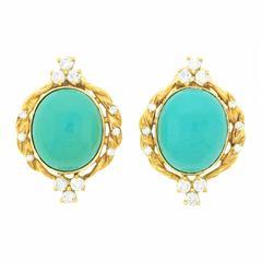 Carl F. Bucherer Persian Turquoise Diamond Gold Earrings