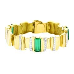 Abstract Tourmaline and Diamond Set Gold Bracelet